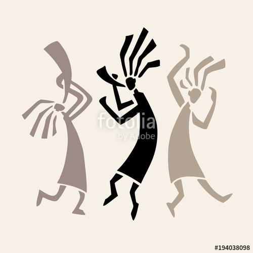 500x500 Stylized Musicians Dancing Figures. Primitive Art. Vector