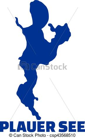 291x470 Lake Plauer See Silhouette With Name Vector Clip Art