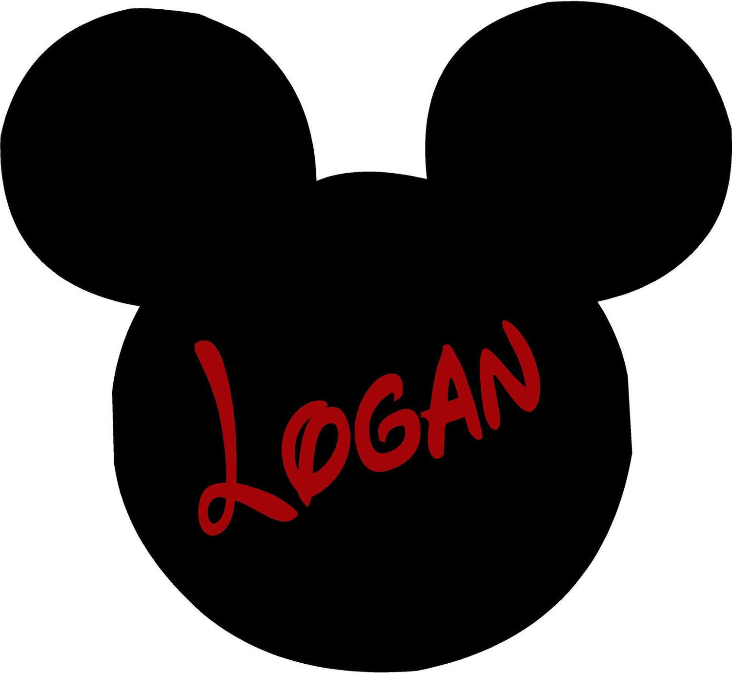 1500x1380 Mickey Mouse Ears Name Personalized 24x22 Vinyl Wall Lettering