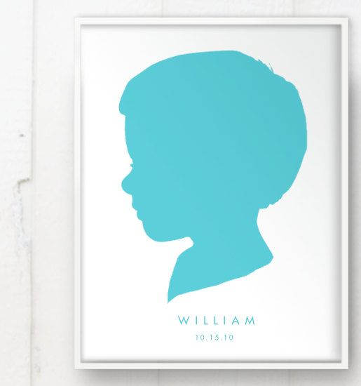 515x550 Modern Child Silhouette Color On White Print