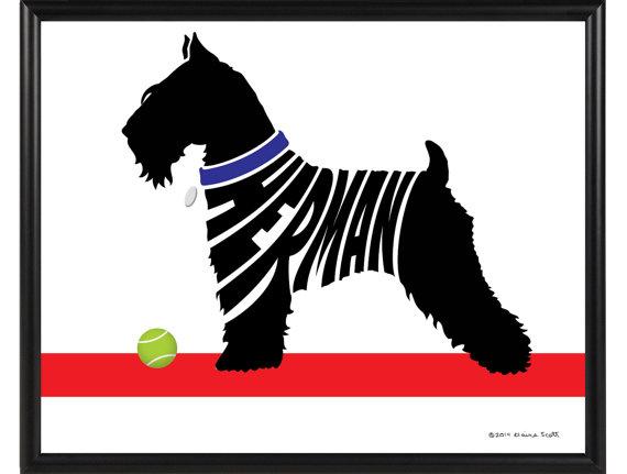 570x431 Personalized Miniature Schnauzer Silhouette Print Framed Dog