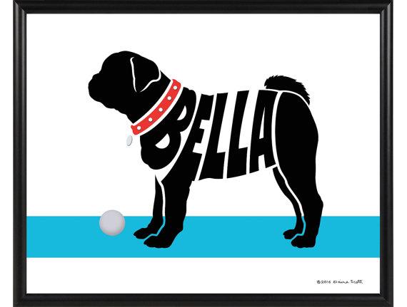 570x431 Personalized Pug Silhouette Print Framed Pug Name Art
