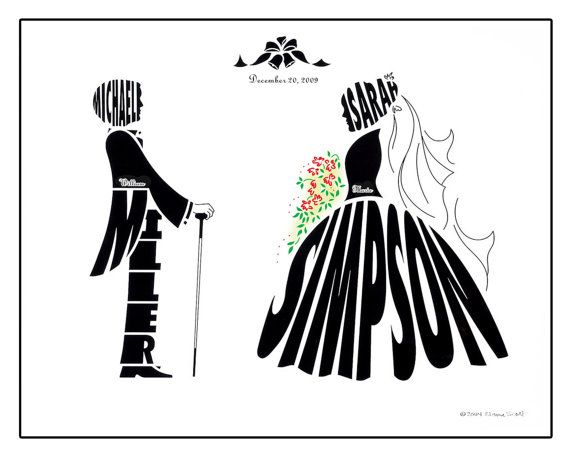 570x454 Personalized Wedding Silhouette Print, Bride And Groom Name Art