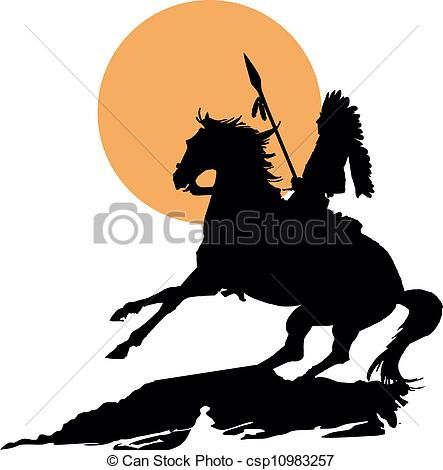 443x470 Native American On Horseback With Lance In Silhouette