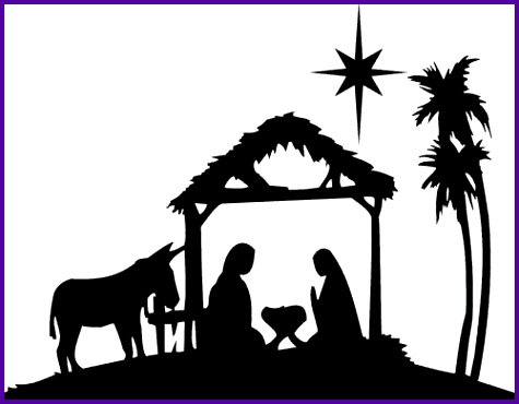Silhouette Nativity Scene Pattern