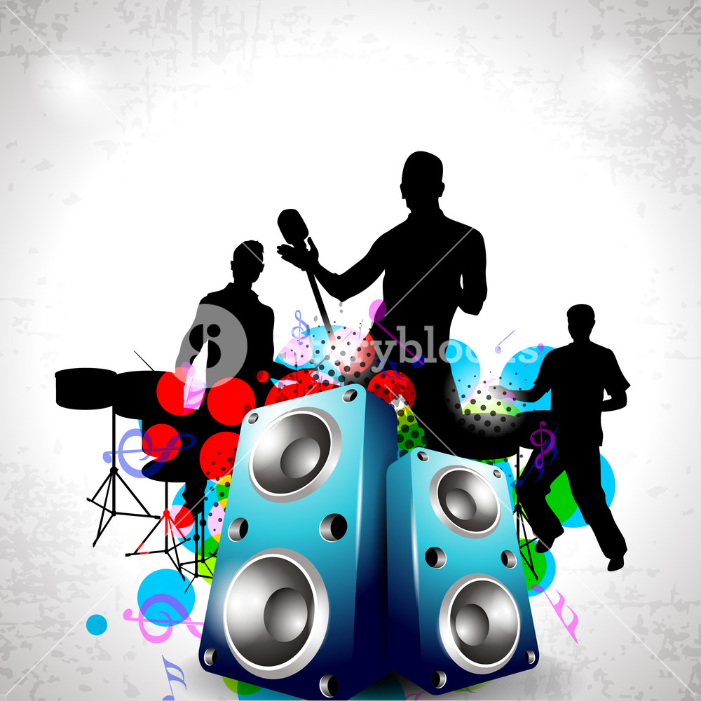1000x1000 Party Night Background With Dancing People Silhouette And Speakers