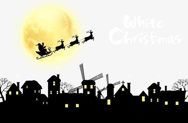 650x427 Santa Claus Driving At Night Lovely House Silhouette Background