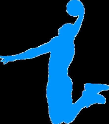 443x500 Basketball Player Blue Silhouette Public Domain Vectors