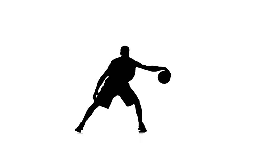 852x480 Boy Basketball Player Skillfully Handles The Ball. Silhouette