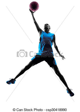 337x470 Woman Basketball Player Silhouette. One Caucasian Woman Stock