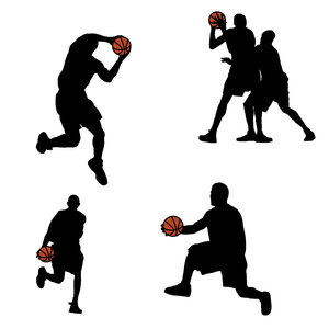 300x300 Basketball Players Silhouettes Vector