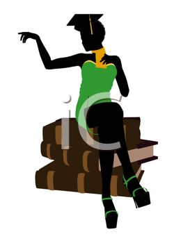 263x350 Young Black Woman In Silhouette Sitting On A Pile Of Books Wearing