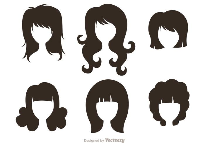 700x490 Black Silhouette Woman With Hairstyles Vectors