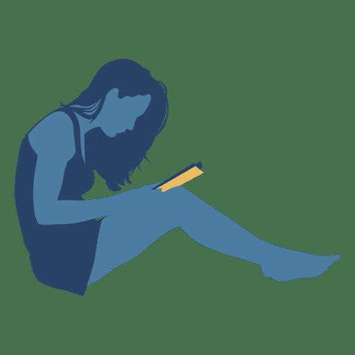 512x512 Woman Reading Book Floor Crossed Legs Silhouette