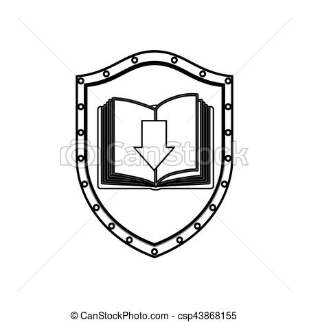 450x470 Silhouette Shield With Open Book And Arrow Vector Clipart