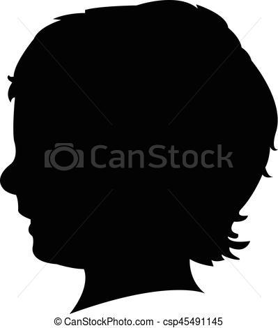 399x470 A Boy Head Silhouette Eps Vector
