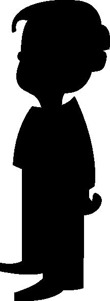 216x590 Silhouette Of A Boy Clip Art Free Vector 4vector