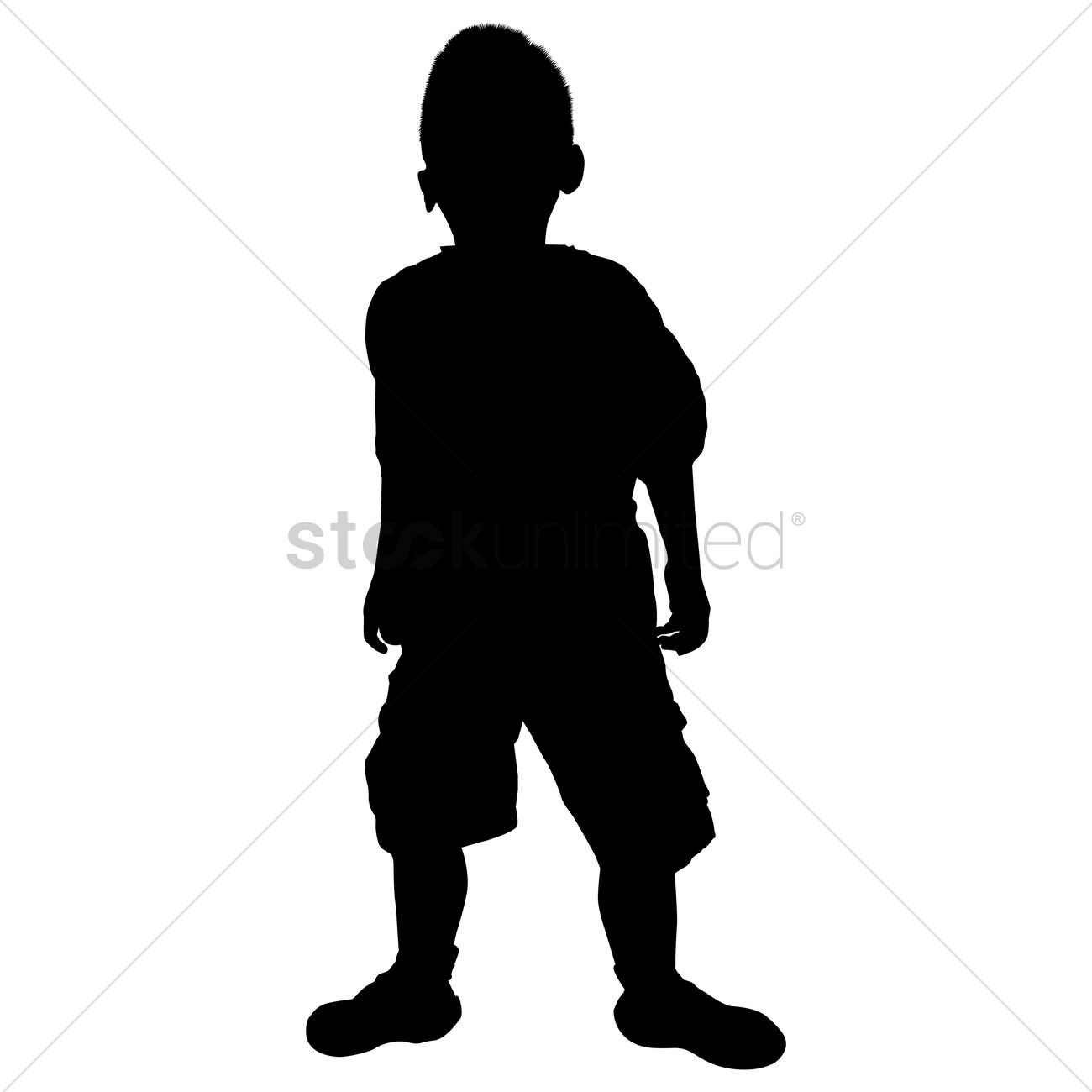 1300x1300 Silhouette Of A Boy Playing Vector Image