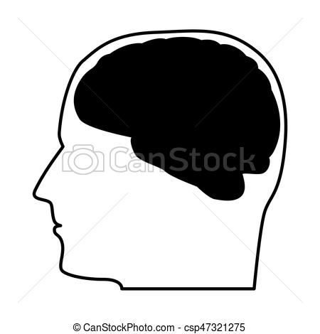 450x470 Head With The Brain Black Icon. Head With The Brain Black