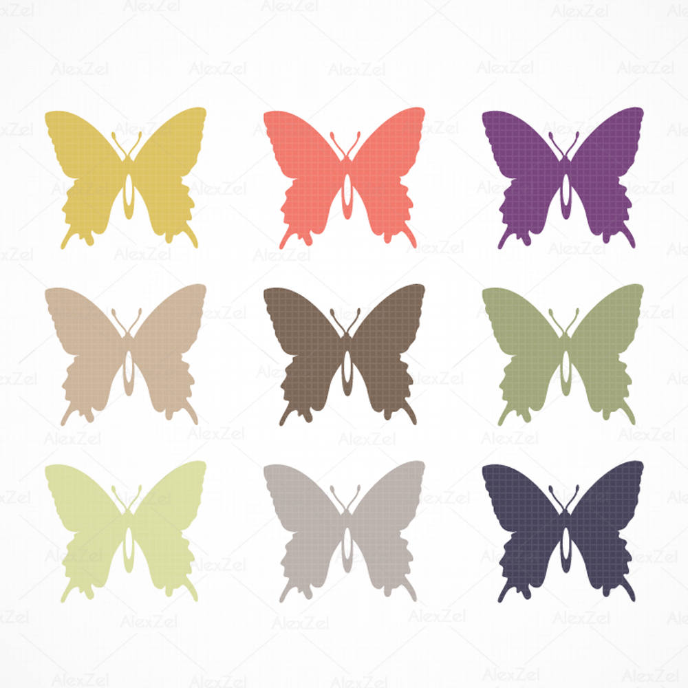 1000x1000 Butterfly Clipart, Butterfly Silhouette, Digital Butterfly