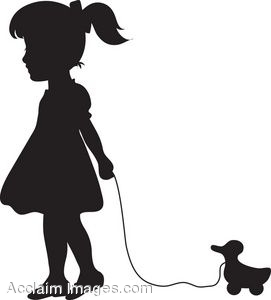 271x300 Clip Art Of Child Pulling A Duck Toy Silhouette