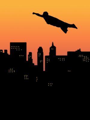 300x400 Silhouette Of A Superhero Flying Across A City Skyline.