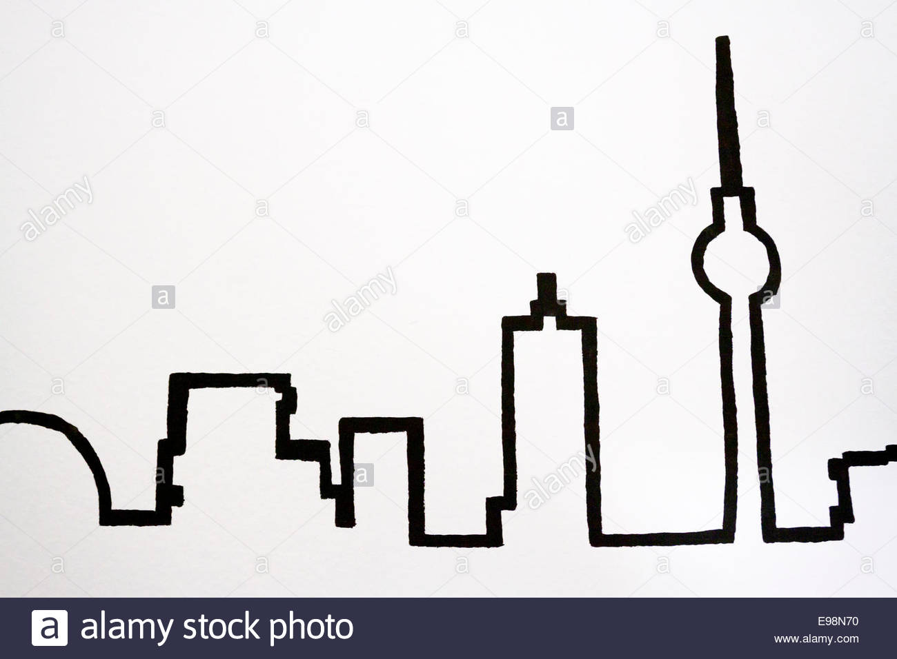 1300x956 Silhouettes Of The Most Famous Landmarks Berlin. Berlin Stock