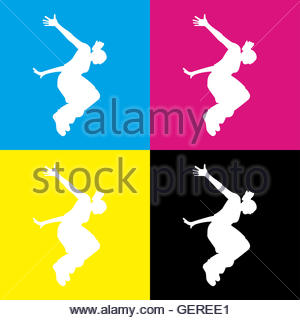 300x320 Vector Silhouette Of A Woman Who Does Parkour In City Stock Vector