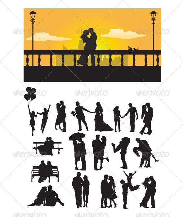 590x700 Printable Couple Kissing Under Umbrella Silhouette