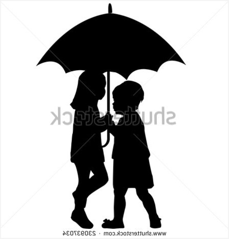 450x470 Black Patio Umbrellas Cozy Couple Silhouette Umbrella Stock