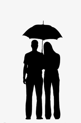 333x500 Couple Silhouette, Black Silhouette, Embrace, Umbrella Png Image