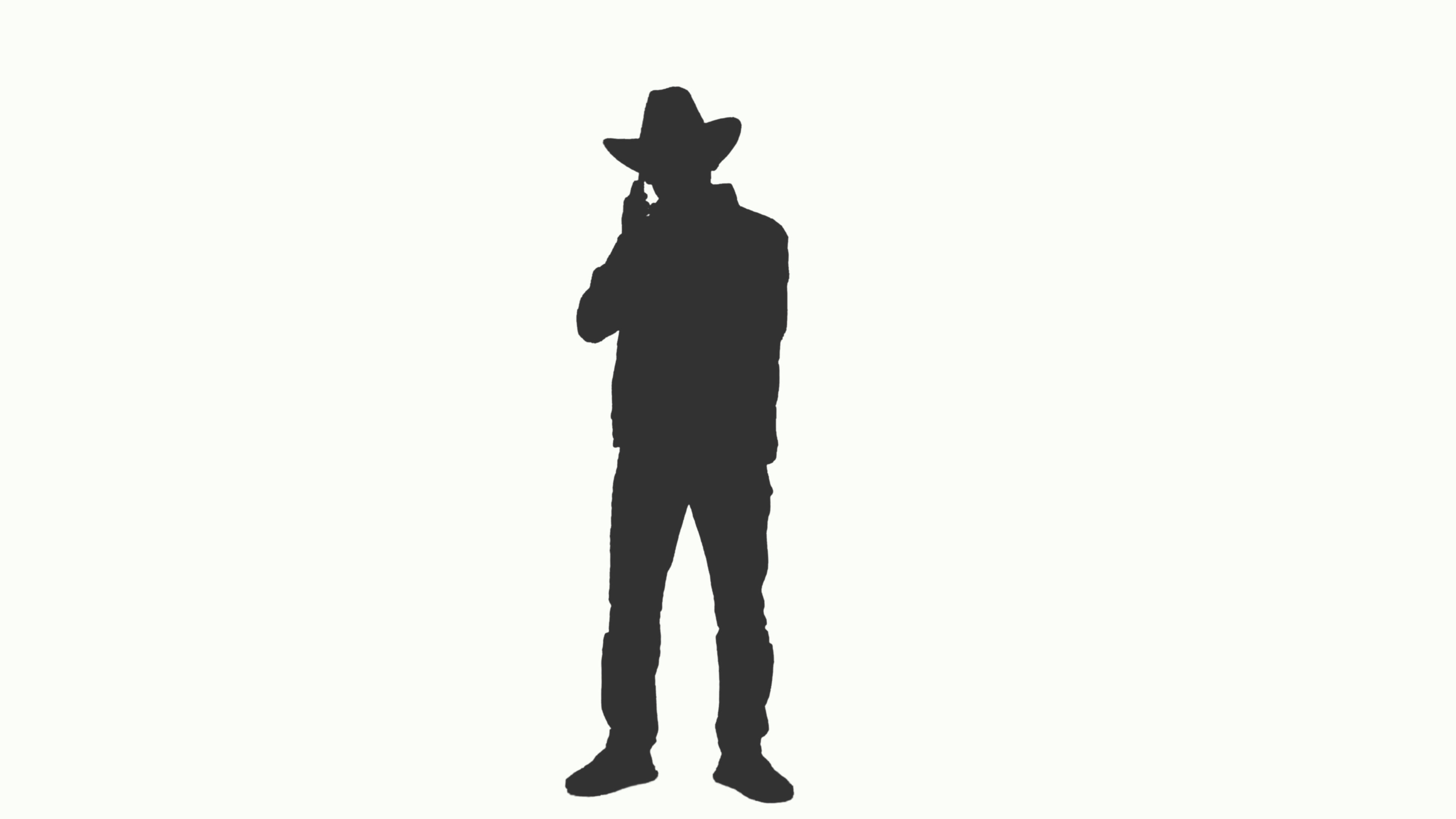 3840x2160 Silhouette Of A Businessman In A Cowboy Hat Talking On Smartphone