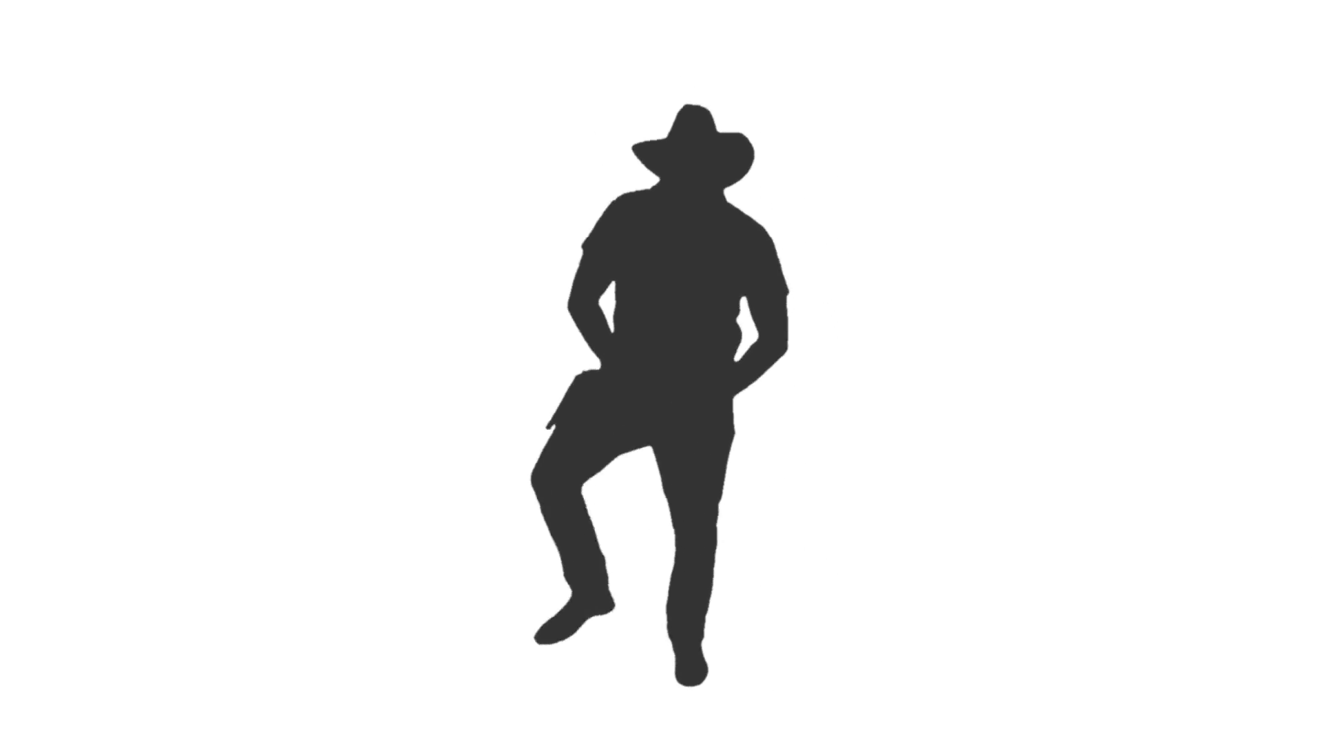 1920x1080 Silhouette Of A Man Dancing In Cowboy Hat, Full Hd Footage