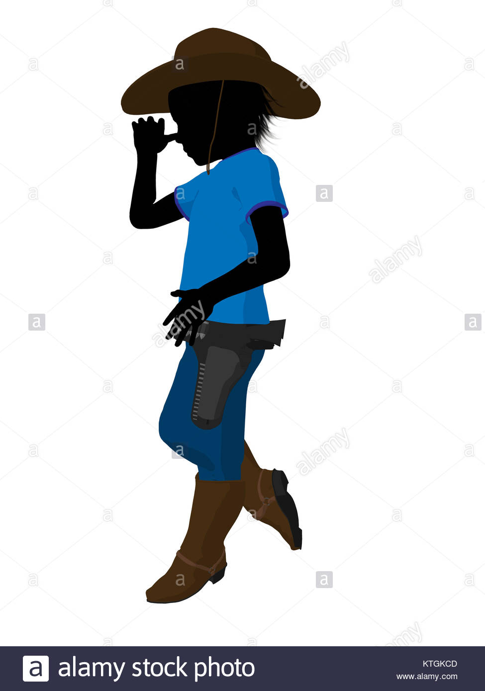 975x1390 Teen Cowboy Illustration Silhouette On A White Background Stock