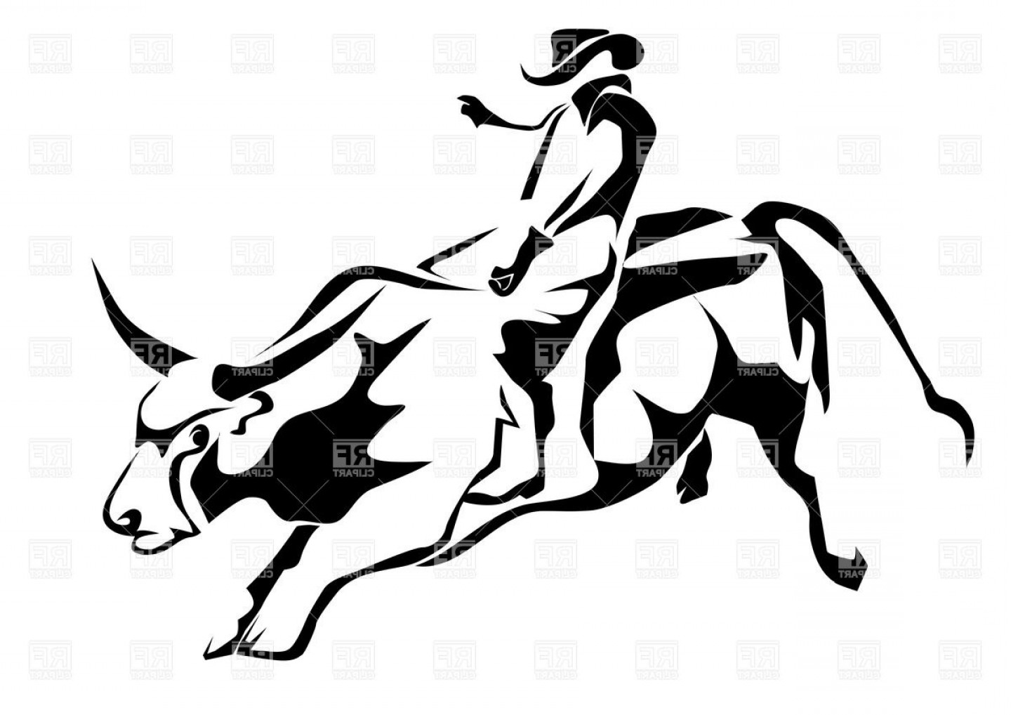 1440x1018 Bull Riding Silhouette Of Cowboy And Bull Vector Clipart