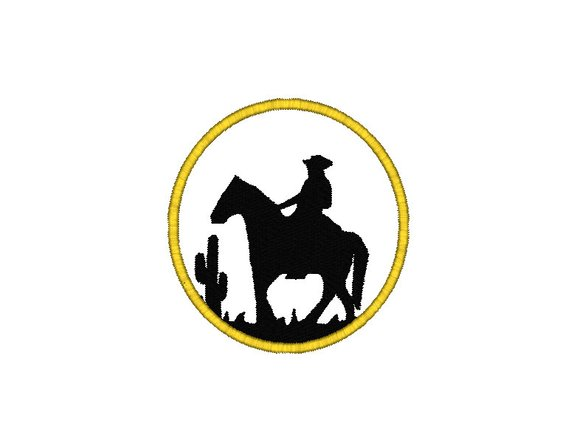 570x439 Cowboy Silhouette Machine Embroidery Design, Cowboy Embroidery