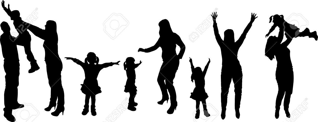 1300x498 Family Silhouette White Clipart