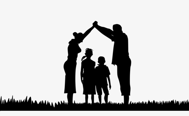 650x400 Family Black Silhouette, Black Silhouette, Family, House Shape Png