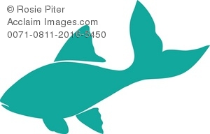 300x192 Free Clipart Illustration Of A Teal Silhouette Of A Fish
