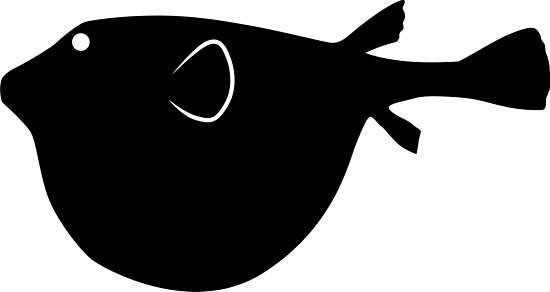 550x292 Puffer Fish Silhouette (Black) Photographic Prints By