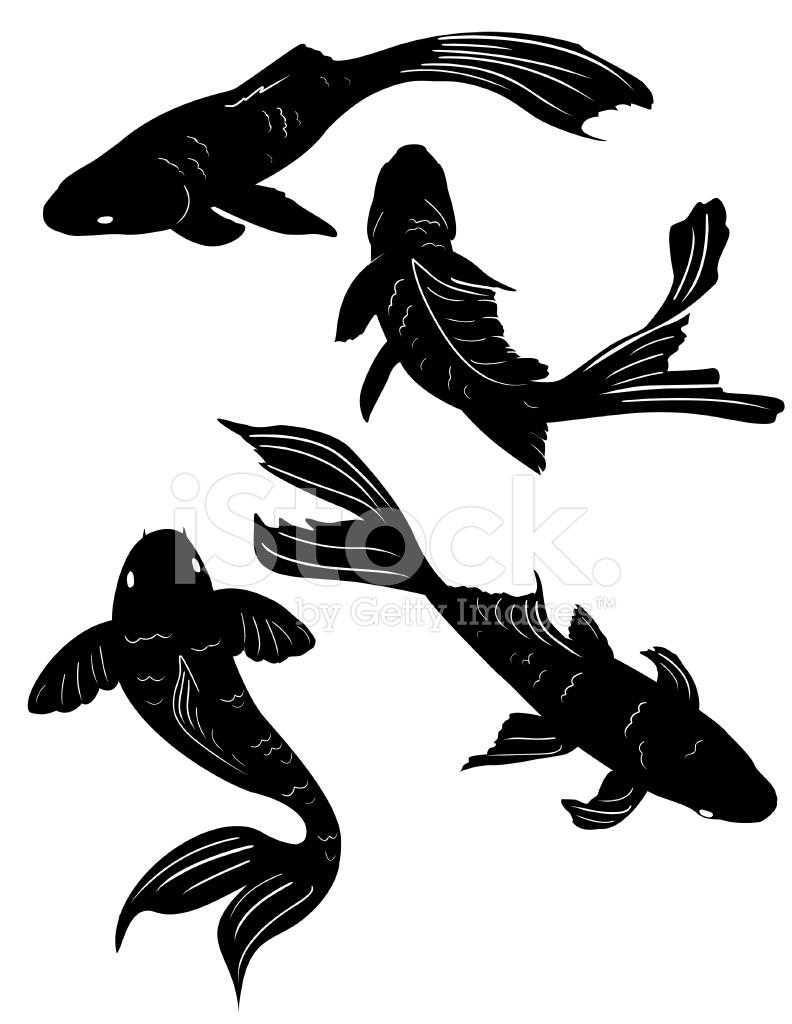 792x1024 Set Of Four Swimming Poses Koi Pond Fish Black Silhouettes Stock