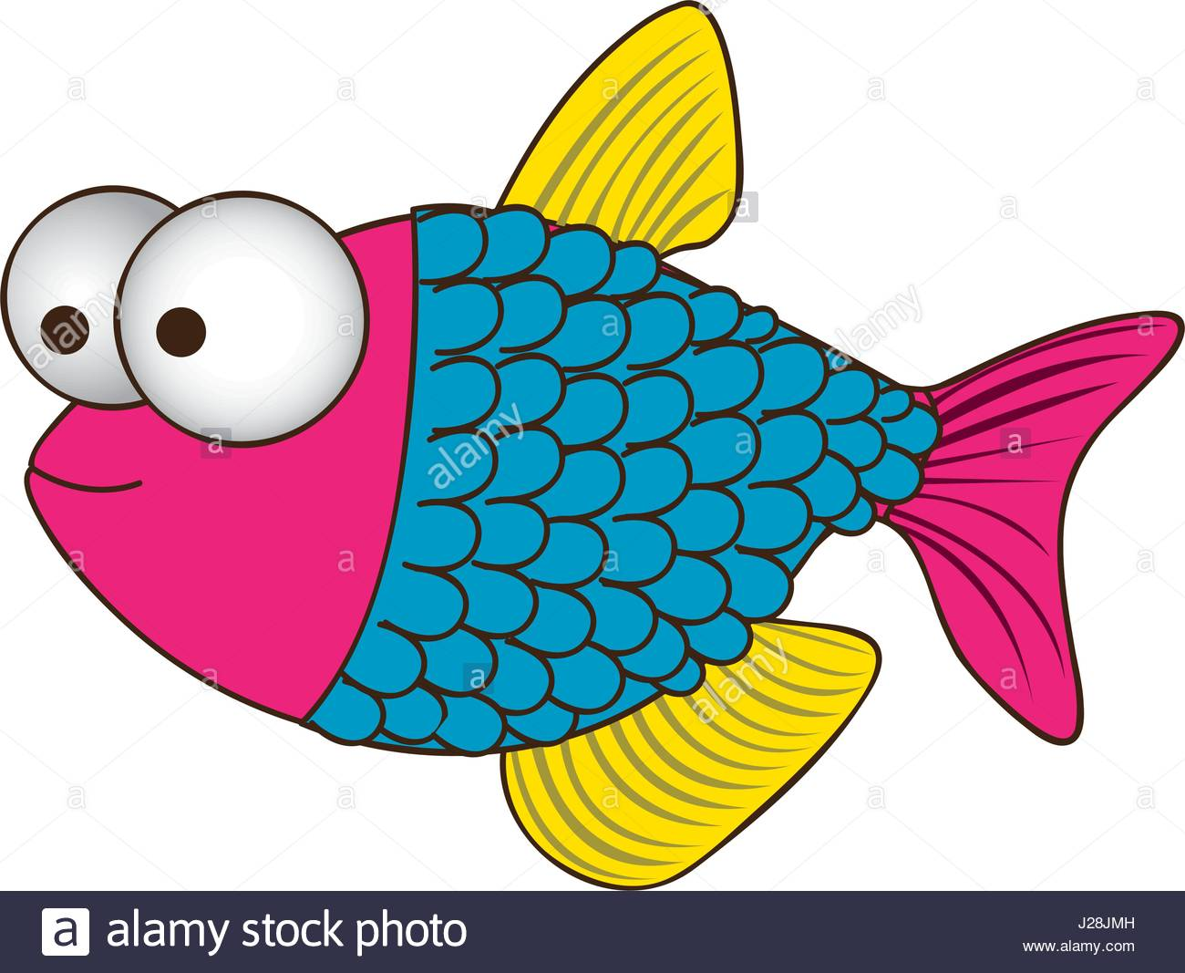 1300x1067 Color Silhouette Of Fish With Big Eyes And Scales Stock Vector Art