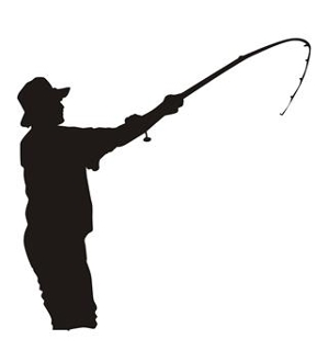 299x330 Fisherman Silhouette 5 Decal Sticker