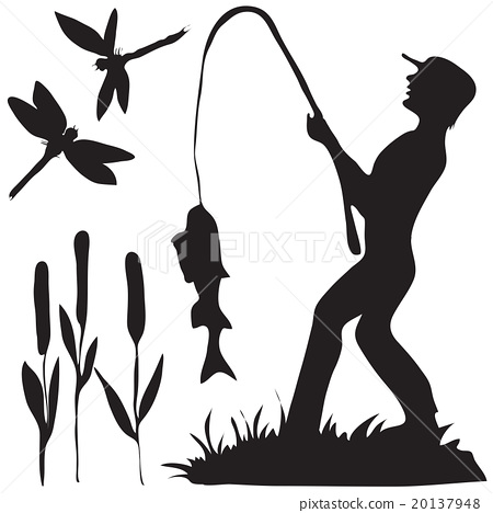 450x468 Hand Drawn Black And White Silhouette A Fisherman