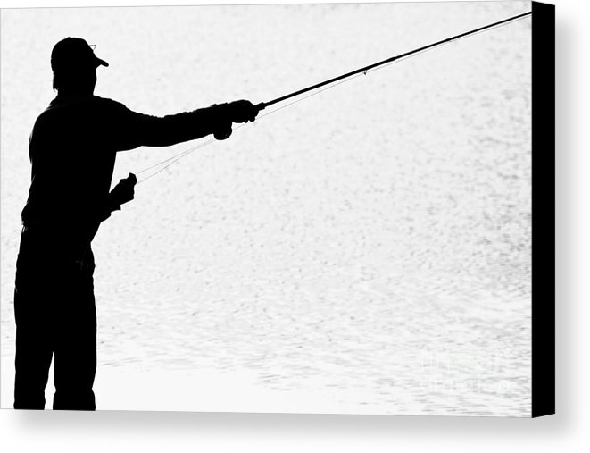 661x507 Silhouette Of A Fisherman Holding A Fishing Pole Bw Canvas Print