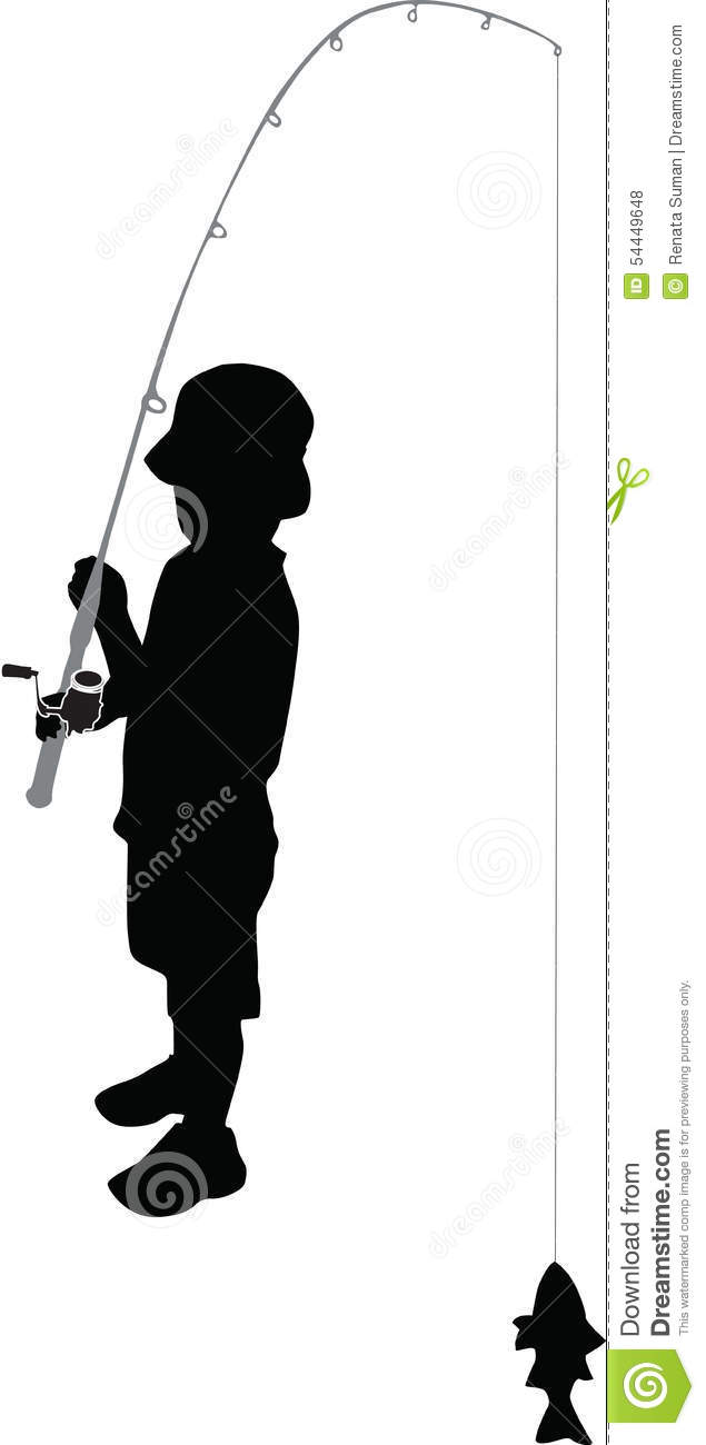 635x1300 Fisherman Boy Silhouette Clipart