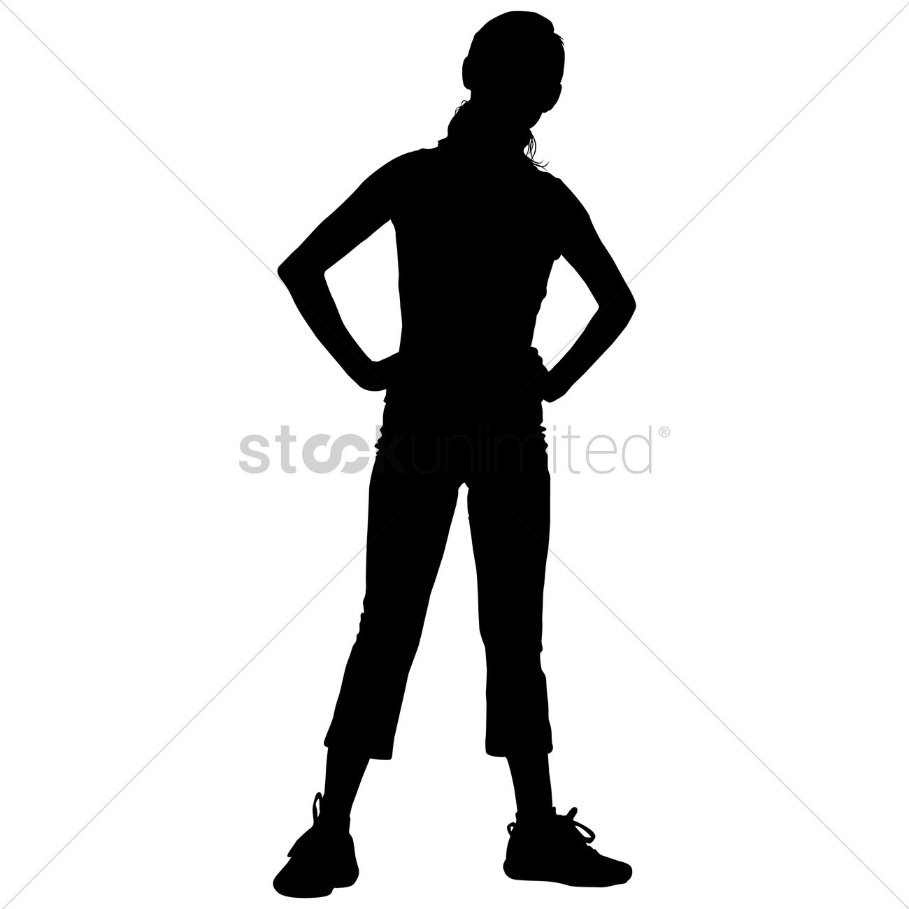 1300x1300 Silhouette Of A Girl Exercising Vector Image