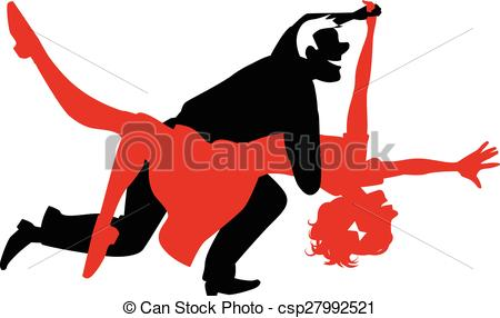 450x286 Vector Silhouette Of A Couple Dancing Swing Or Rock And Roll