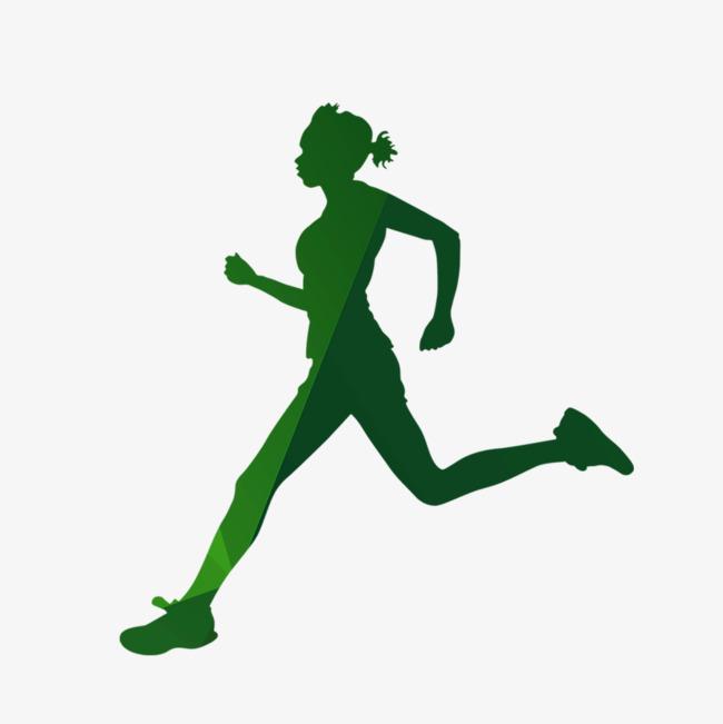 650x651 Running Girl, Running Man, Sketch, Green Silhouette Png Image