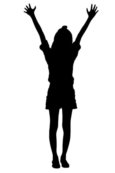 400x600 Silhouette Image Of A Girl With Arms Raised.